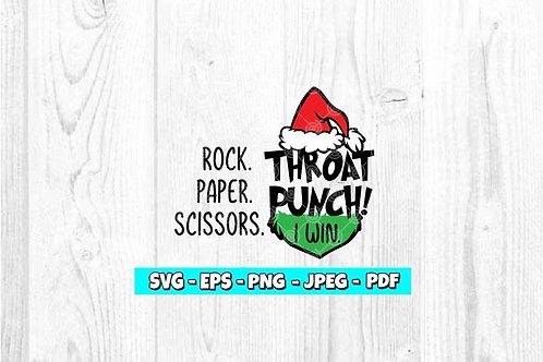 Rock Paper Scissors Throat Punch I Win SVG