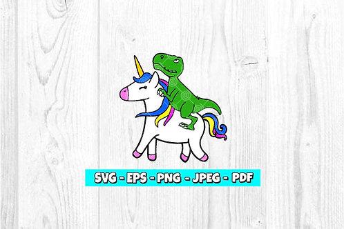 Dinosaur Riding A Unicorn SVG