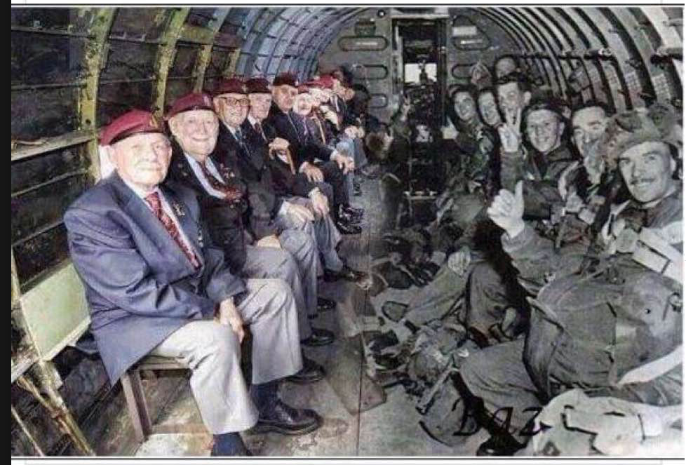 The men on the right are about to paratroop into France on D-Day. The men on the left are the same men today. More remarkable? It's the same plane!