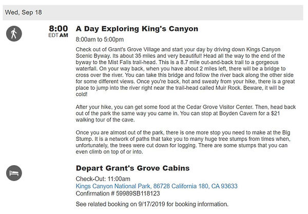 Kings canyon custom travel itinerary