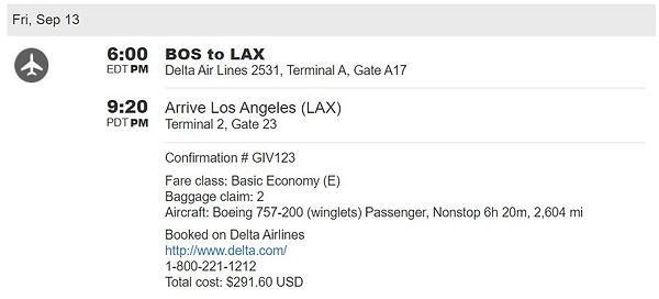 Boston to LA travel itinerary