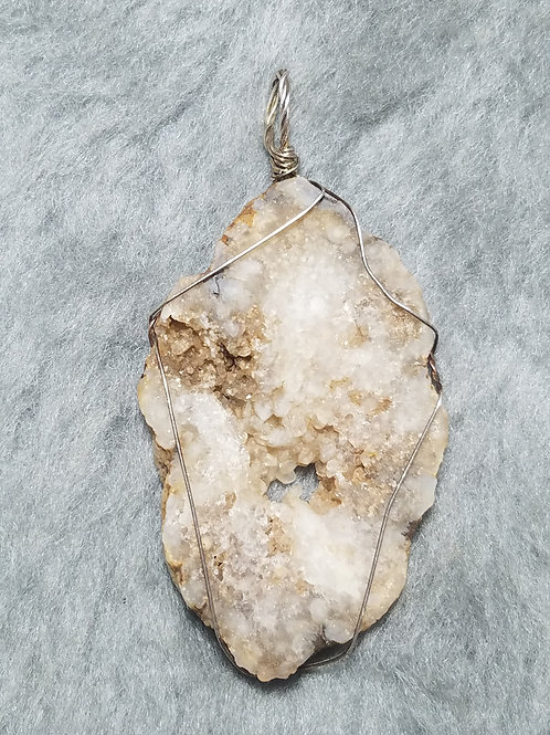 Geode and Sterling Silver Pendant