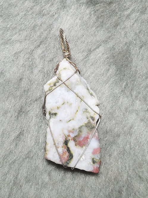Lace Agate and Sterling Silver Pendant