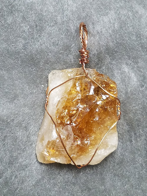 Citrine and Copper Pendant