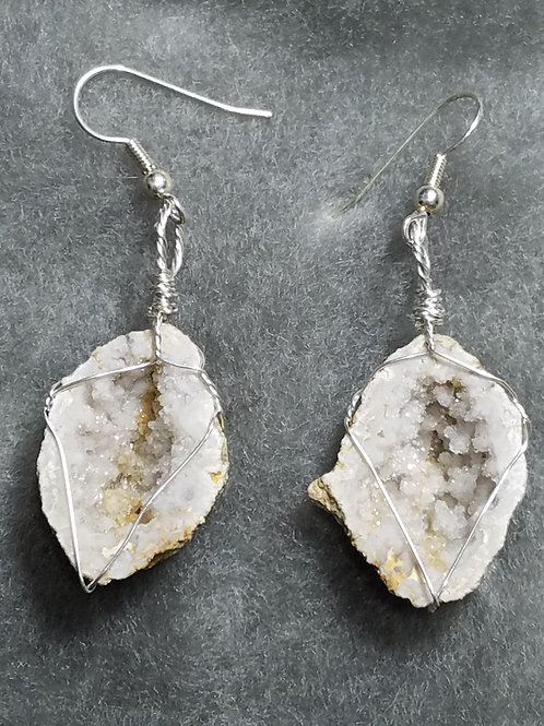 Geode and Silver Earrings