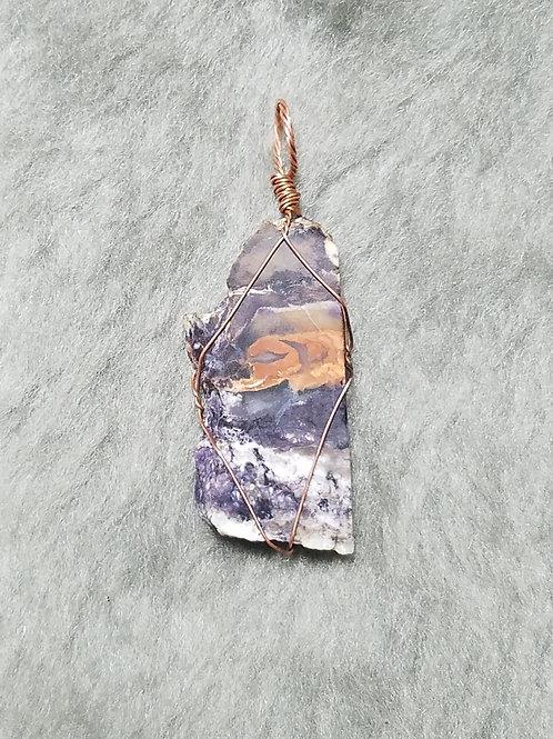 Tiffany Stone and Copper Pendant