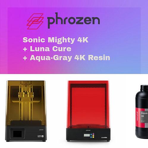 Phrozen Sonic Mighty 4K+Luna Cure + Aqua-Gray 4K Resin