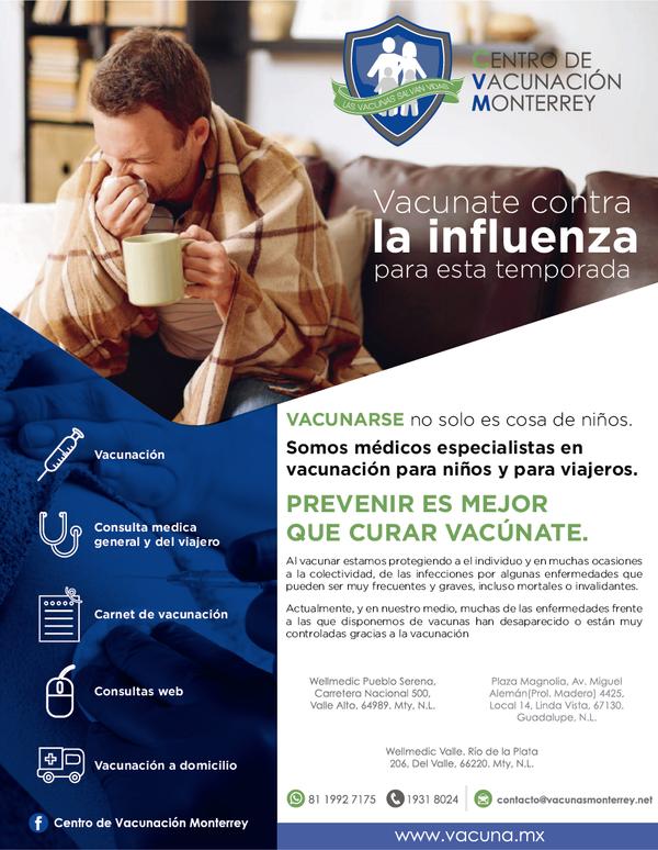 Campaña de Vacunación contra la Influenza temporada 2019-2020 en Monterrey
