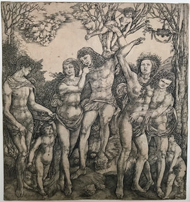 Allegory of the Power of Love, with a man at center embracing a semi-naked woman, who is bound to a tree by Cupid