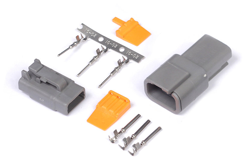 Haltech Plug and Pins Only - Matching Set of Deutsch DTM-3 Connectors (7.5 Amp)