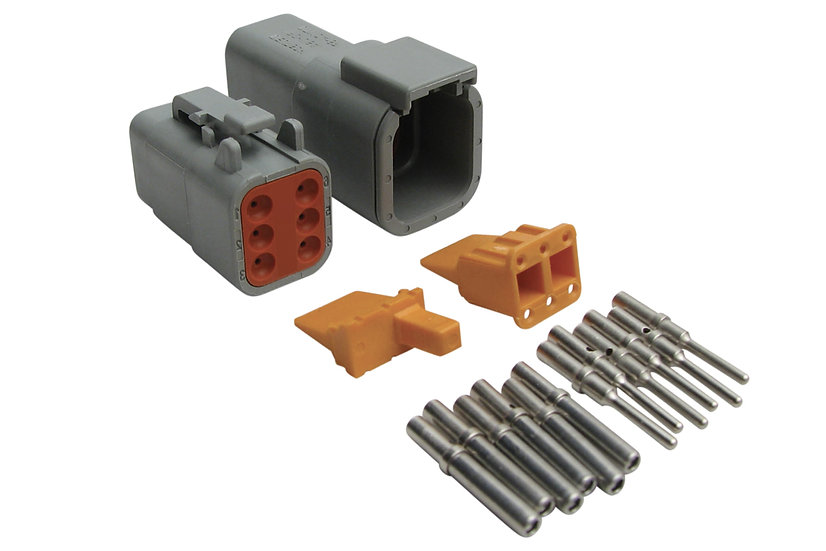 Haltech Plug and Pins Only - Matching Set of Deutsch DTM-6 Connectors (7.5 Amp)