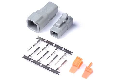 Haltech Plug and Pins Only - Matching Set of Deutsch DTM-4 Connectors (7.5 Amp)