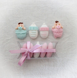 Bomboniera nascita battesimo rosa