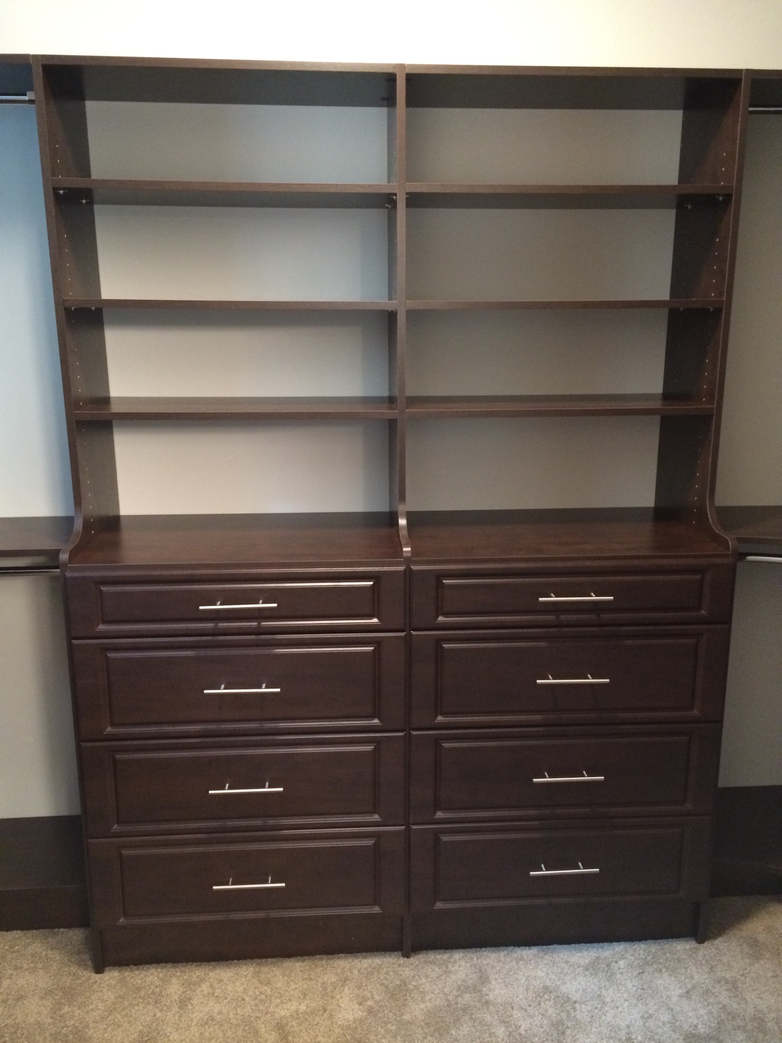 Chocolate pear hutch drawers
