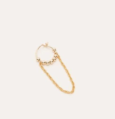 Boucles d'oreilles mini anneaux fruits d'or chaînette