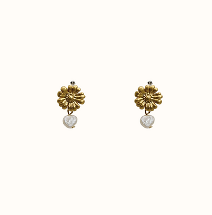 Boucles d'oreilles Daisy with pearl