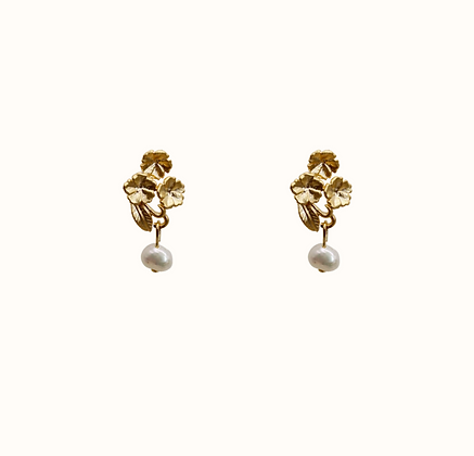 Boucles d'oreilles Flowers with pearl