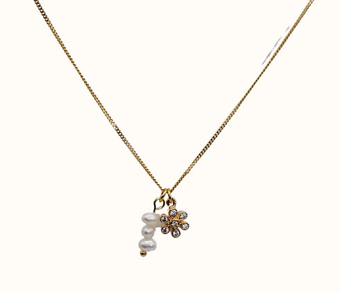 Collier Zirconia Flower with pearls