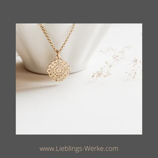 Feine Kette mit Mandala Sterlingsilber vergoldet