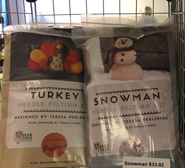 Beginners Wool Needle Felting-snowman