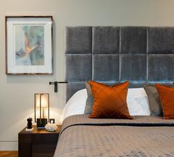 Copper grey bedroom features