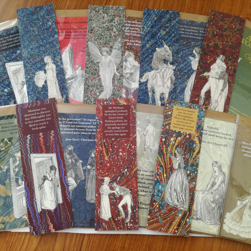 Literary inspired cards and bookmarks from The Forgotten Library