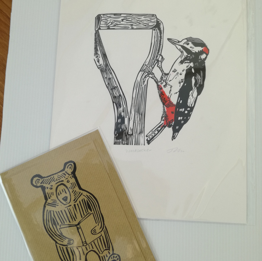 Prize donation of a Bear with a Book Card & a Woodpecker print