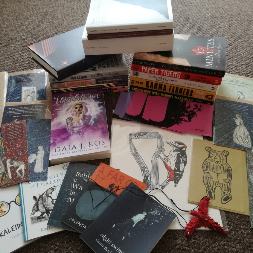 Prize Bundle 2 (also includes an annual mini box subscription to Ninja Book Box, an ebook of On Anxiety and an artwork commission from Moon Kestrel)