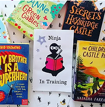 a booklet with a picture of a ninja reading a book and the words 'Ninja in Training', surrounded by four indie children's books against a background of ninja stickers.