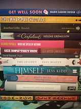 a pile of preloved indie books including a Persephone book and lots of others.