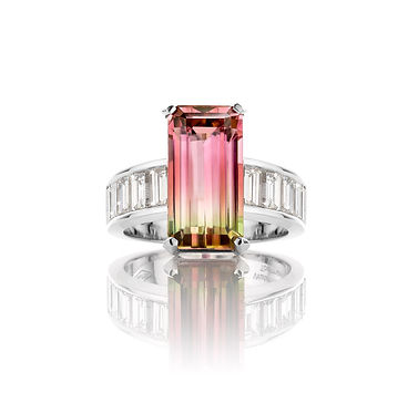 Watermelon Tourmaline Diamond Ring Jochen Leën