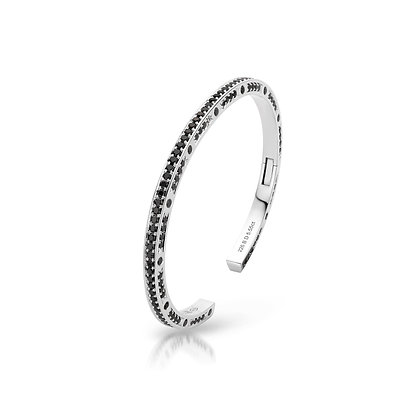 JL Bangle White Gold Black Diamonds