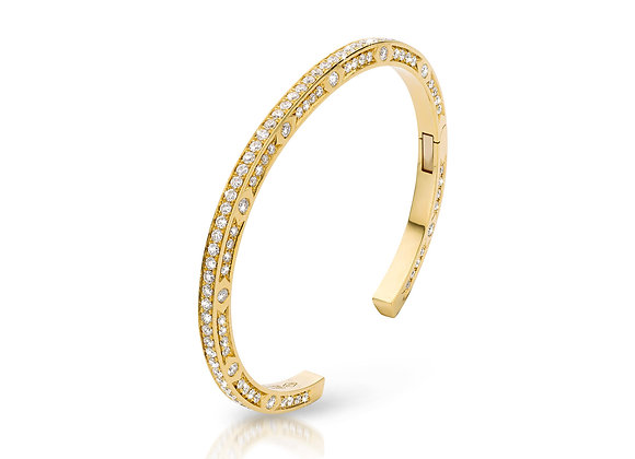 JL Bangle Yellow Gold White Diamonds