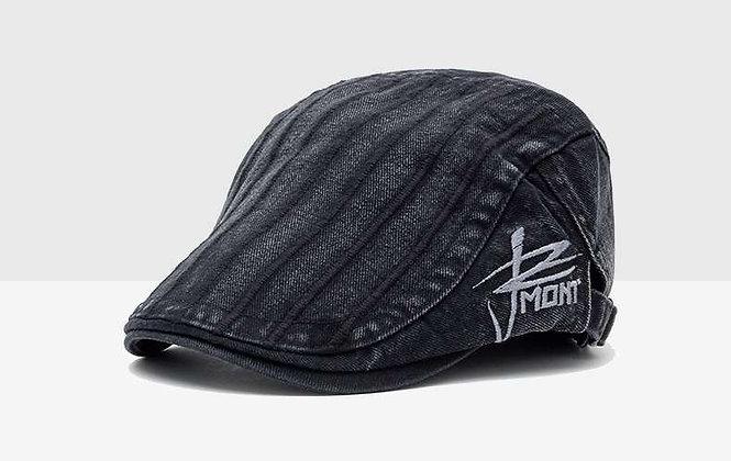 棉質條紋鴨舌帽