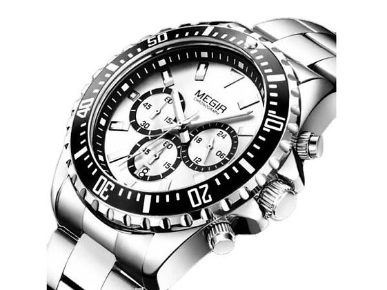 Megia 計時銀金屬男士腕錶