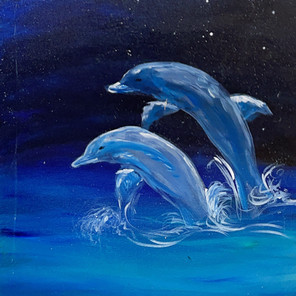 Dolphins Under the Stars