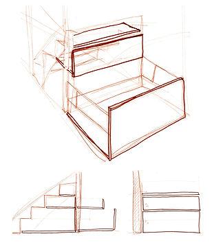 Croquis meuble de rangement sur-mesure