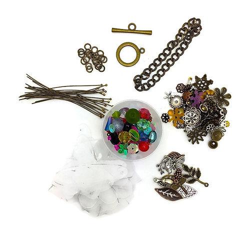 shrink plastic jewelry making bracelet  kit  by julie haymaker shrinkets beads head pin bead caps jumbo rings chain clasp