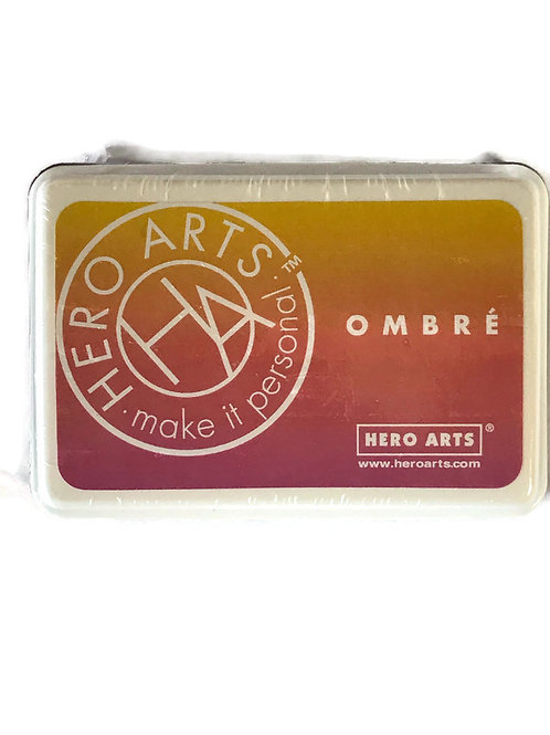 Ombre Hero Arts Ink Pad  in shades of  yellow , orange and pink .
