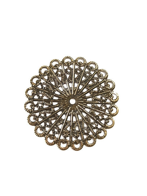 antique bronze filigree flat round