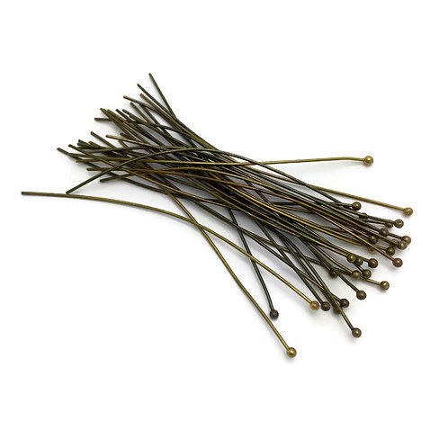 30  Brass Ball Headpins, Antique Bronze Size: about 0. 7mm thick, 70mm long Headpins allow you to make earrings, pendants, li