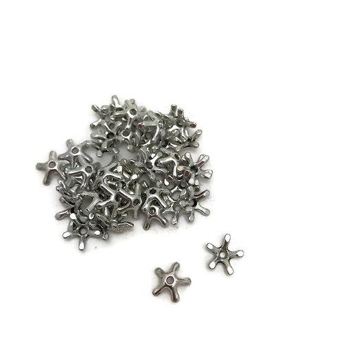 30  star shape tibetan style bead cap antique silver