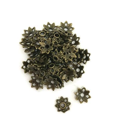 30  Tibetan style spacer bead in antique bronze 9 mm