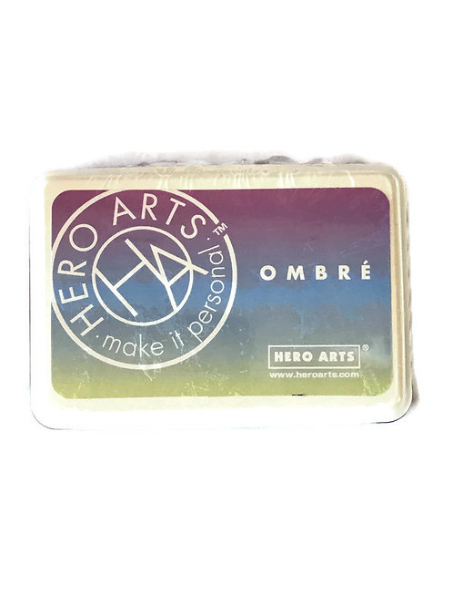 Ombre Hero Arts Ink Pad in shades of purple ,blue and green.