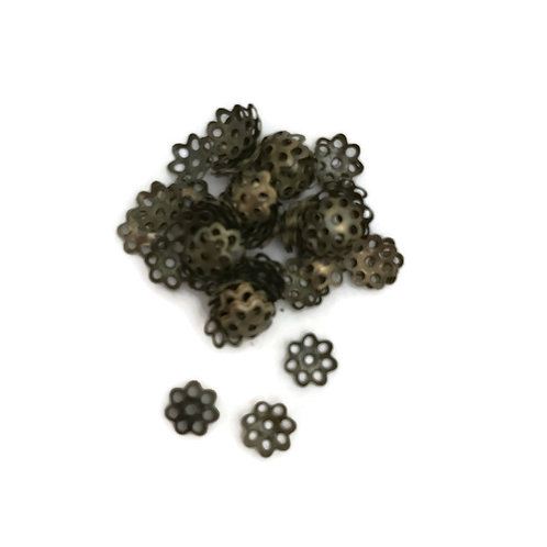 1/4 dry ounce bag  stamped metal bead caps in antique bronze 6 mm