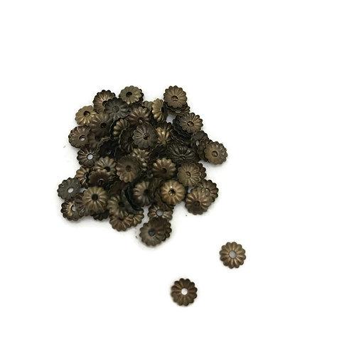 1/4 dry ounces bag  stamped iron antique bronze bead caps 5 mm