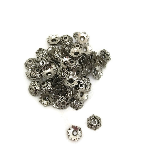 30  antique silver tibetan style bead cap 8 mm