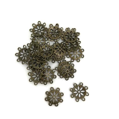 30  antique bronze Tibetan style bead cap 14 mm