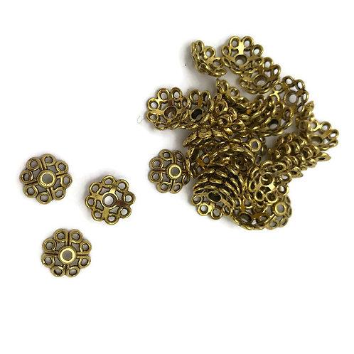 30 Tibetan Style Alloy 4-Petal Bead Caps, Lead Free, Antique Golden, 10.5x10.5x5mm, Hole: 2mm julie haymaker