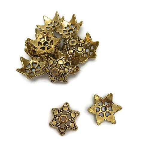 30  antique gold Tibetan style bead caps 17 mm